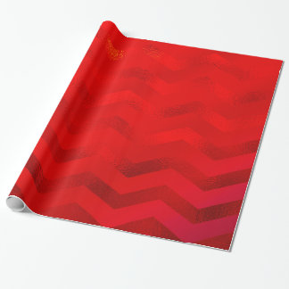 Faux Red Burgundy Shiny Foil Texture Chevron Wrapping Paper