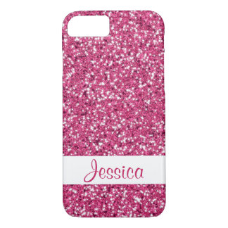Faux Red Glitter Pattern Look-like And Custom Name iPhone 8/7 Case