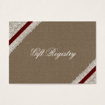 FAUX red lace and burlap Gift registry  Cards