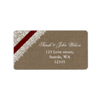 FAUX red lace and burlap ,return address label