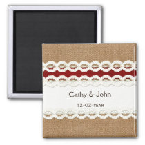 FAUX red lace and burlap wedding save the date Magnet