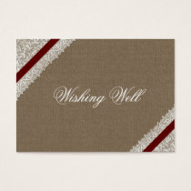 FAUX red lace and burlap wishing well cards