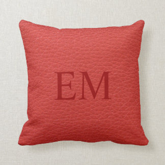 Faux Red Leather Monogram Pillow