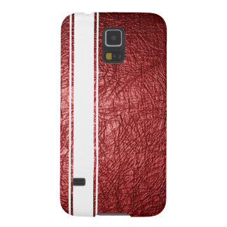Faux Red Leather & White Stripe Samsung Case