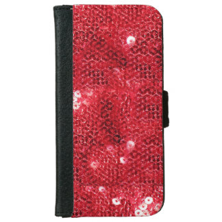 Faux Red Sequin Image  Background iPhone 6 Wallet Case
