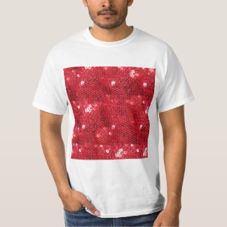 Faux Red Sequin Image  Background T-Shirt