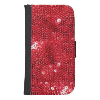 Faux Red Sequin Pattern Image Galaxy S4 Wallet Cases
