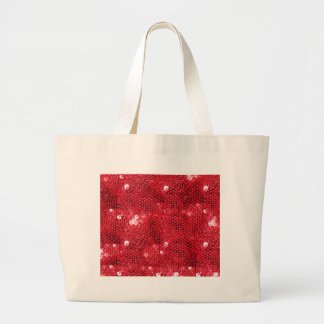 Faux Red Sequin Pattern Image Large Tote Bag
