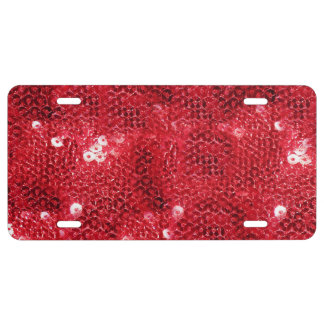 Faux Red Sequin Pattern Image License Plate