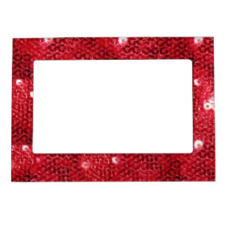 Faux Red Sequin Pattern Image Magnetic Photo Frames