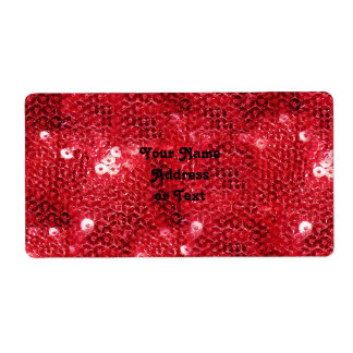 Faux Red Sequin Pattern Image Shipping Label