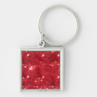 Faux Red Sequin Pattern Image Silver-Colored Square Keychain