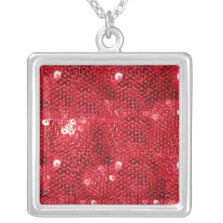 Faux Red Sequin Pattern Image Square Pendant Necklace