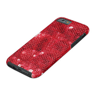 Faux Red Sequin Pattern Image Tough iPhone 6 Case