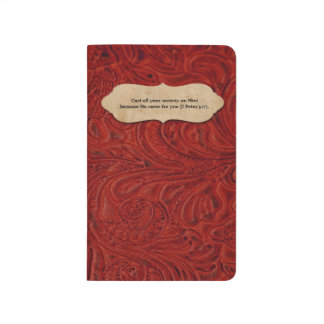 Faux Red Tooled Leather Personalized Scripture Journal