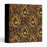faux red velvet golden flame binder