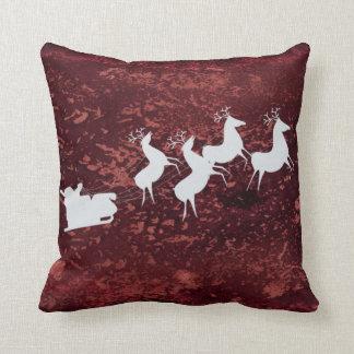 Faux red velvet Santa Sleigh and Reindeer Throw Pillow