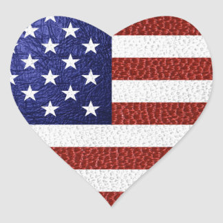 Faux Red White Blue Leather USA Flag Heart Sticker
