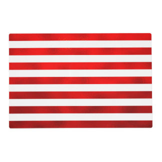 """Faux Red White Horizontal Stripes """"Candy Stripe"""" Laminated Place Mat"""