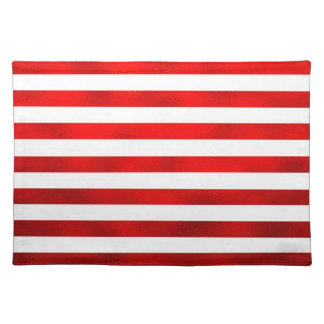 """Faux Red White Horizontal Stripes """"Candy Stripe"""" Cloth Placemat"""