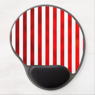 """Faux Red White Vertical Stripes """"Candy Stripe"""" Gel Mouse Pad"""