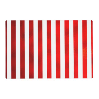 """Faux Red White Vertical Stripes """"Candy Stripe"""" Laminated Place Mat"""