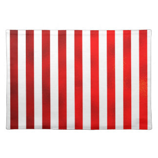 """Faux Red White Vertical Stripes """"Candy Stripe"""" Cloth Place Mat"""
