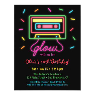 Faux Retro Cassette Neon Glow Birthday Party Card