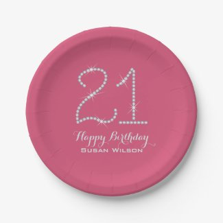 Faux Rhinestone 21st Birthday Paper Plate