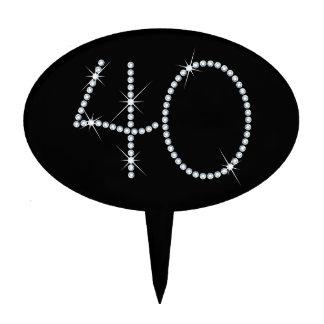 Faux Rhinestone 40th Birthday Cake Topper
