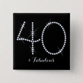 Faux Rhinestone 40th Birthday Pinback Button