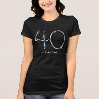 Faux Rhinestone 40th Birthday T-Shirt