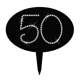 Faux Rhinestone 50th Birthday Cake Topper