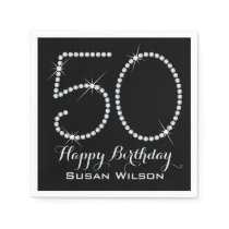 Faux Rhinestone 50th Birthday Paper Napkin