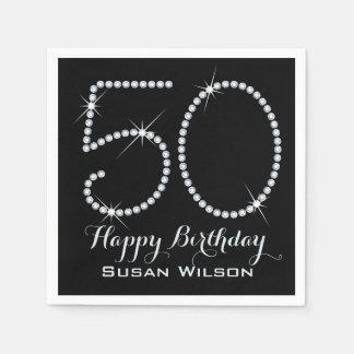 Faux Rhinestone 50th Birthday Paper Napkin