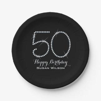 Faux Rhinestone 50th Birthday Paper Plate