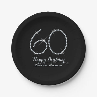 Faux Rhinestone 60th Birthday Paper Plate