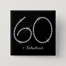 Faux Rhinestone 60th Birthday Pinback Button
