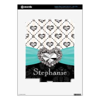 Faux Rhinestone Heart Aqua iPad 3 Skin