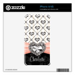 Faux Rhinestone Heart Pink iPhone 4 / 4s Skin Decals For iPhone 4S