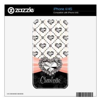 Faux Rhinestone Heart Pink iPhone 4 / 4s Skin iPhone 4 Skin