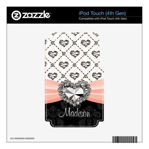Faux Rhinestone Heart Pink iPod Touch Skin 4g 4th