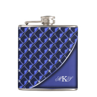 Faux Rhinestone Quilt Monogram Blue Flask