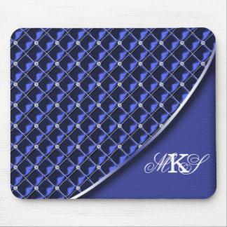 Faux Rhinestone Quilt Monogram Blue Mouse Pad