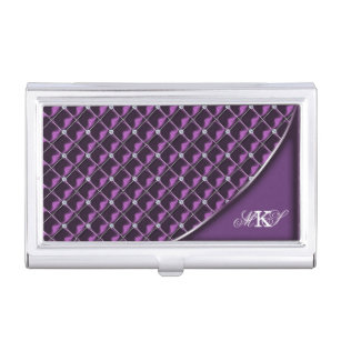 Rhinestone business card holders cases zazzle faux rhinestone quilt monogram purple business card holder colourmoves