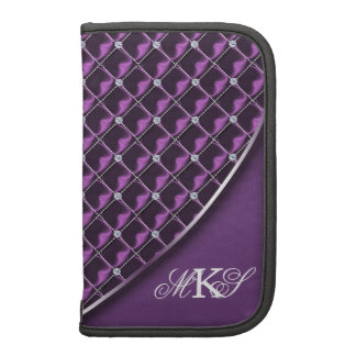 Faux Rhinestone Quilt Monogram Purple Organizer