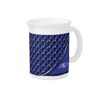 Faux Rhinestone Quilted Monogram Blue Drink Pitchers