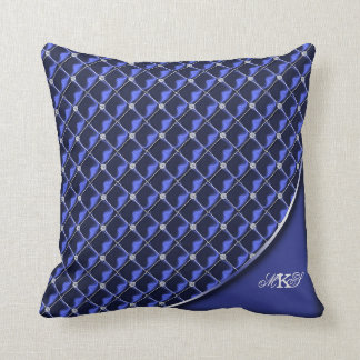 Faux Rhinestone Quilted Monogram Blue Throw Pillows