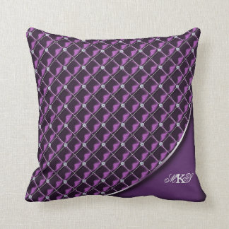 Faux Rhinestone Quilted Monogram Purple Pillows