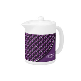 Faux Rhinestone Quilted Monogram Purple Teapot